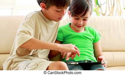 informatique, enfants, ensemble, tablette, jouer