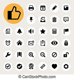 informatique, et, application, interface, icône, ensemble