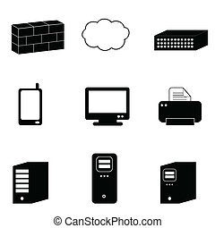 informatique, et, réseau, icônes