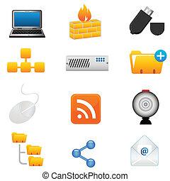 informatique, et, technoloy, icônes