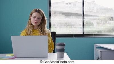 informatique, femme, fonctionnement, caucasien