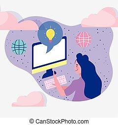 informatique, femme, ligne, connecté, dessin animé, utilisation, mondiale, réunion