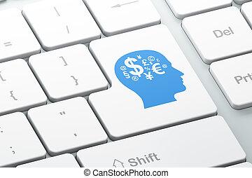 informatique, finance, render, bouton, entrer, fond, clavier, education, symbole, concept:, 3d