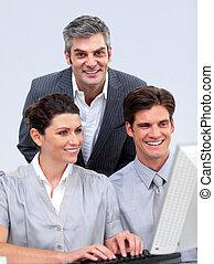informatique, fonctionnement, enthousiaste, businessteam