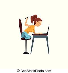 informatique, fonctionnement, tablette, écran, illustration, dessin animé, vecteur, fond, devant, blanc, girl