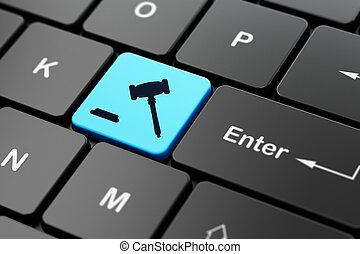 informatique, fond, clavier, marteau, droit & loi, concept: