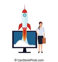 informatique, fusée, femme affaires