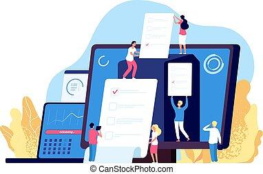 informatique, gens, vote, gouvernement, enregistrement, systèmes, vecteur, ligne, élection, fond, internet, vote, électronique, voting.
