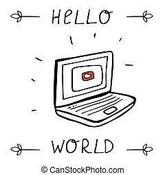 informatique, hand-drawn, ordinateur portable, business