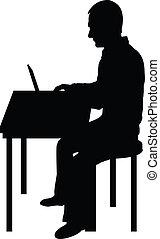 informatique, homme, noir