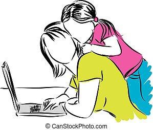 informatique, illust, fille, maman