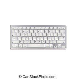 informatique, illustration., aluminium, réaliste, eps10., isolé, arrière-plan., vecteur, clavier, blanc