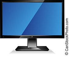 informatique, large, moniteur écran plat