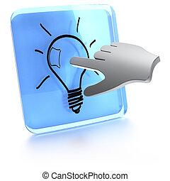 informatique, lumière, bouton, il, main, toucher, ampoule, écran