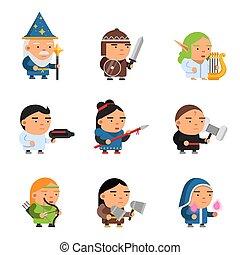 informatique, lutin, fantasme, femme, tireur, magiciens, 2d, characters., jeu, vecteur, rpg, soldats, chevaliers, héros, mâle, mascottes
