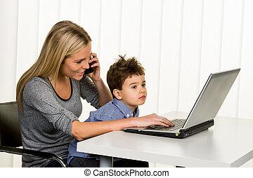 informatique, mère, fils