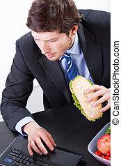 informatique, manger, fonctionnement, homme affaires