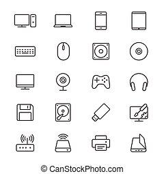 informatique, mince, icônes