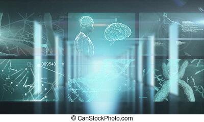 informatique, monde médical, écrans, animation, multiple