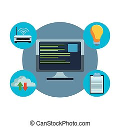 informatique, nuage, icônes