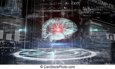 informatique, numérique, humain, balayage, sur, portée, cerveau, 3d