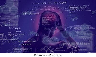 informatique, numérique, humain, incandescent, fond, pourpre, cerveau
