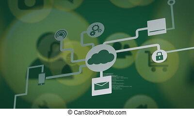 informatique, numérique, icônes, réseau, connexions, animation, nuage