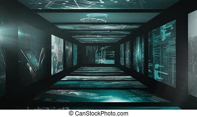 informatique, numérique, réseau, carte, connexions, écrans, mondiale, animation