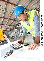 informatique, ordinateur portable, site, construction, utilisation, ingénieur