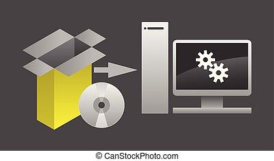 informatique, paquet, illustration, vecteur, installation, logiciel