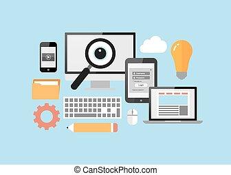 informatique, pc tablette, intelligent, téléphone