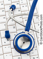 informatique, physicians., il, stethoscope., clavier