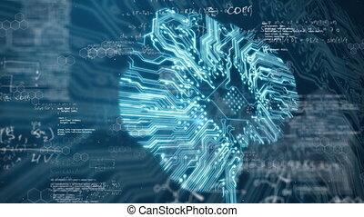informatique, planche, humain, circuit, fond, cerveau, 3d