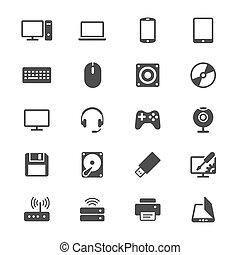 informatique, plat, icônes