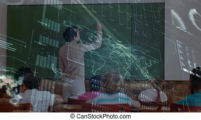informatique, prof, la terre, classe, fond, sur, animation