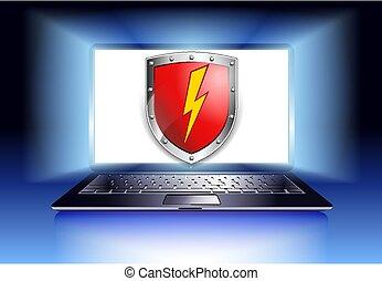 informatique, protection, sécurité, ordinateur portable, bouclier