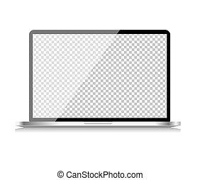 informatique, réaliste, ordinateur portable, papier peint, isolé, illustration, transparent, arrière-plan., vecteur, blanc écran