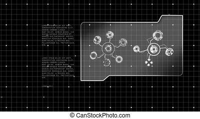 informatique, rotation, animation, connexions, réseaux, ...