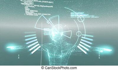 informatique, rotation, vert, humain, modèle, balayage, ...