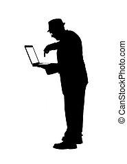 informatique, silhouette, homme