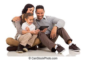 informatique, tablette, famille, utilisation