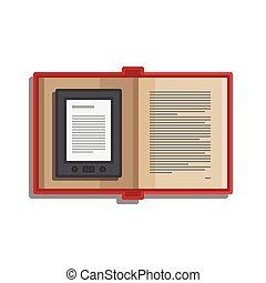 informatique, tablette, livre, lecture, électronique, icône