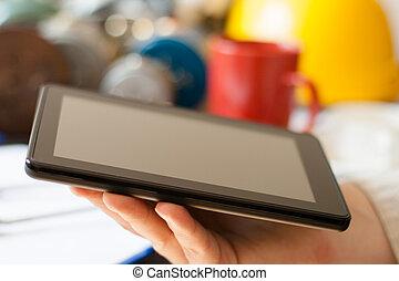 informatique, tablette, mains