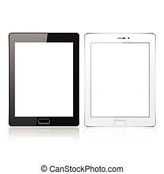 informatique, tablette, réaliste, écran, isolé, illustration, arrière-plan., vecteur, noir, vide, blanc, template., pc