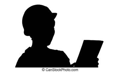 informatique, tablette, site., construction, femme, silhouette, ingénieur