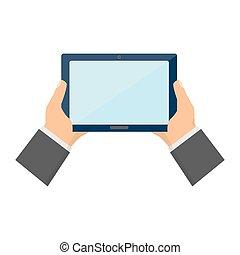 informatique, tenue, tablette, mains