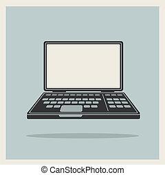 informatique, vendange, ordinateur portable, cahier, vecteur, icône
