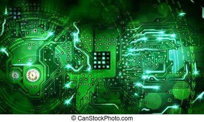 informatique, vert, planche, circuit, boucle