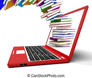 informatique, voler, livres, apprentissage, ligne, pile,...
