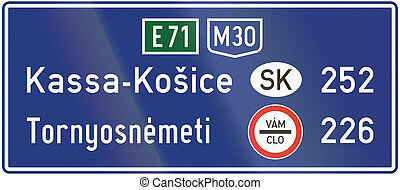 Informatory Hungarian road sign - Distance to destinations in other countries. Vam - Clo means customs in Slovakian